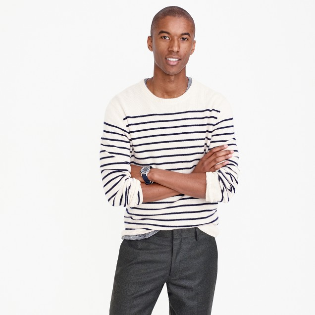 Italian cashmere crewneck sweater in nautical stripe