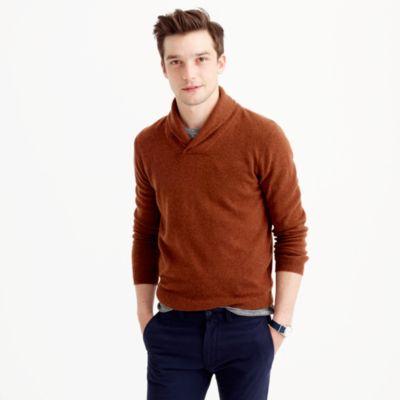 Italian cashmere shawl-collar popover sweater