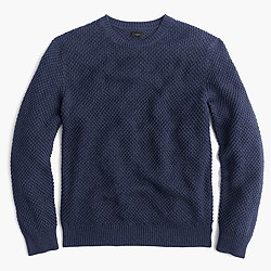 Cotton textured-stitch crewneck sweater
