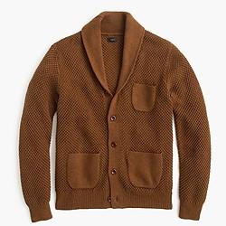 Cotton textured-stitch cardigan sweater