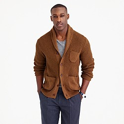 Cotton textured-stitch cardigan sweater