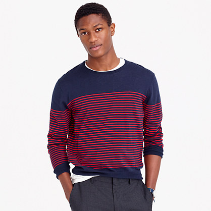 Lightweight cotton crewneck sweater in nautical stripe