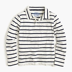 Boys' long-sleeve polo shirt in ivory stripe