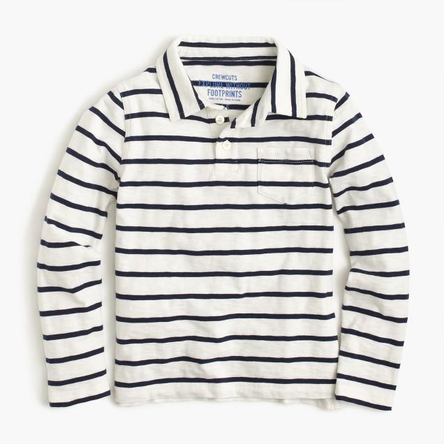 Boys' long-sleeve polo shirt in ivory stripe