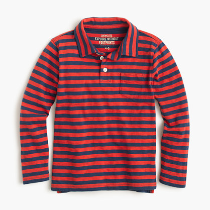 Boys' long-sleeve polo shirt in red stripe