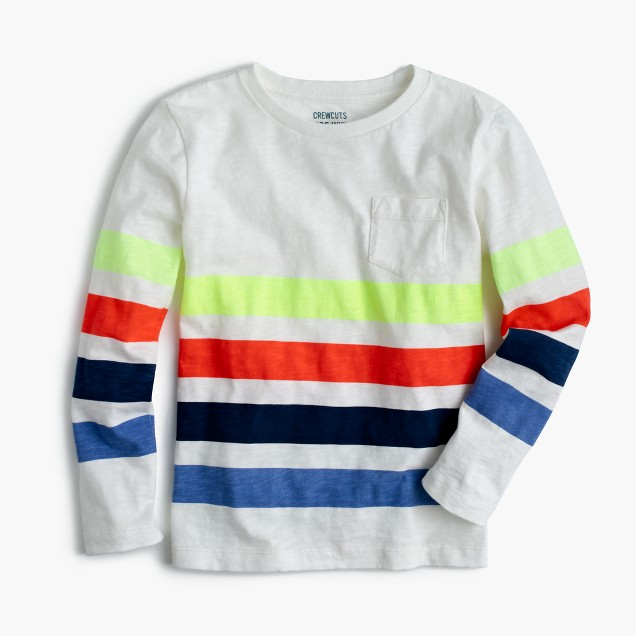 Boys' long-sleeve quad-striped T-shirt