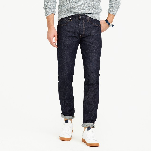 Wallace & Barnes slim selvedge jean in raw indigo