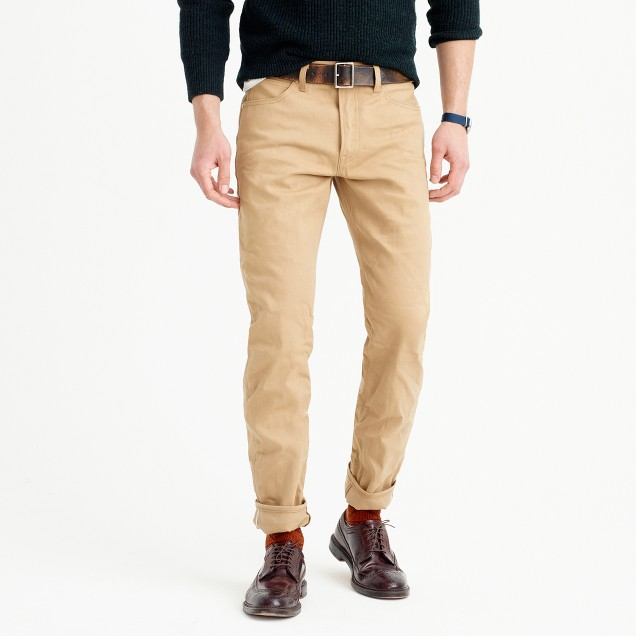 Wallace & Barnes straight selvedge jean in khaki
