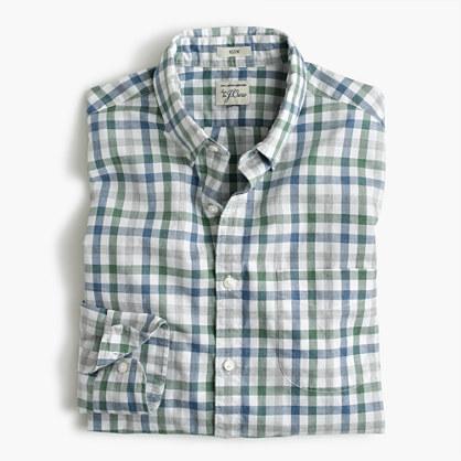 Slim Secret Wash shirt in heather poplin faded check