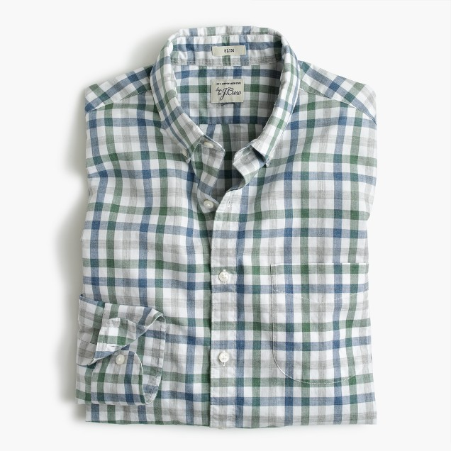 Slim Secret Wash shirt in heather poplin faded check