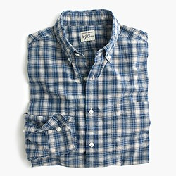 Slim Secret Wash shirt in blue plaid heather poplin