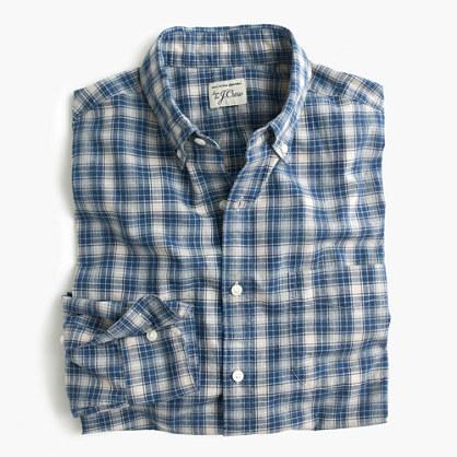 Slim Secret Wash shirt in blue plaid heather poplin