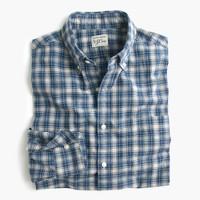 Secret Wash shirt in blue plaid heather poplin
