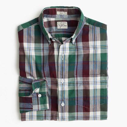 Slim Secret Wash shirt in indigo plaid end-on-end cotton