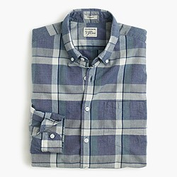 Slim Secret Wash shirt in indigo plaid end-on-end cotton