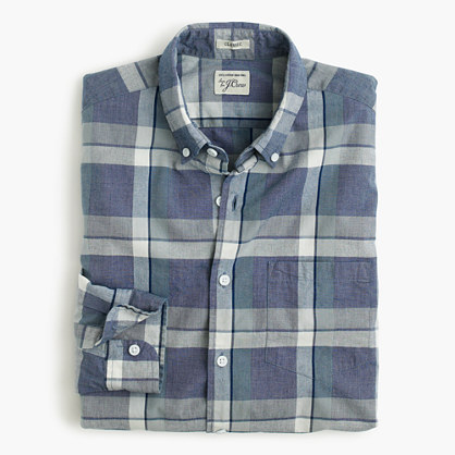 Secret Wash shirt in indigo plaid end-on-end cotton