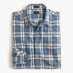 Tall heathered slub cotton shirt in creek blue plaid