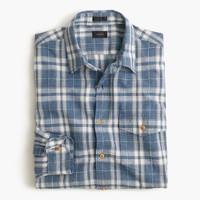 Slim heathered slub cotton shirt in creek blue plaid
