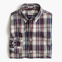 Secret Wash shirt in indigo plaid slub cotton