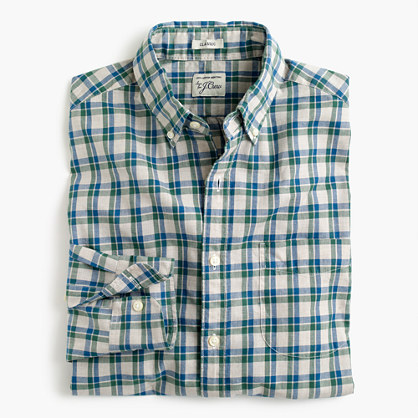 Secret Wash shirt in heather poplin plaid