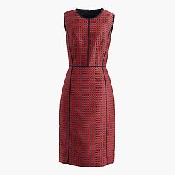 Sheath dress in crimson foulard