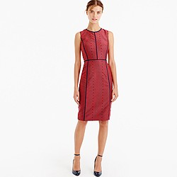 Sheath dress in crimson foulard