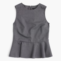 Petite peplum top in Super 120s wool
