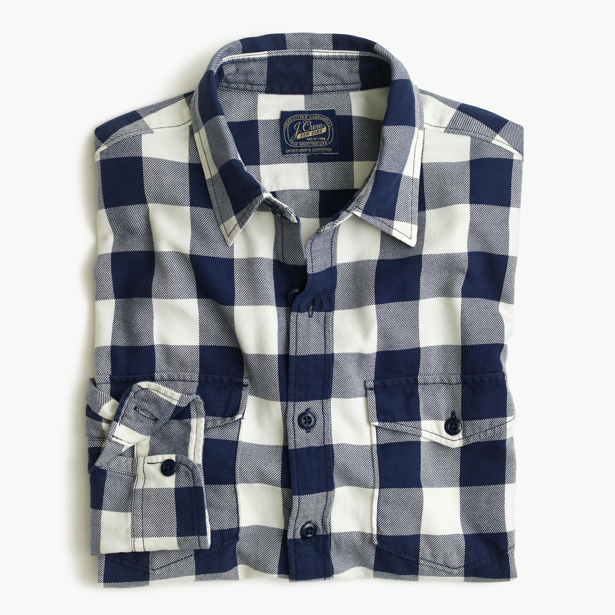 Midweight flannel shirt in navy buffalo check men 39 s for Buffalo check flannel shirt