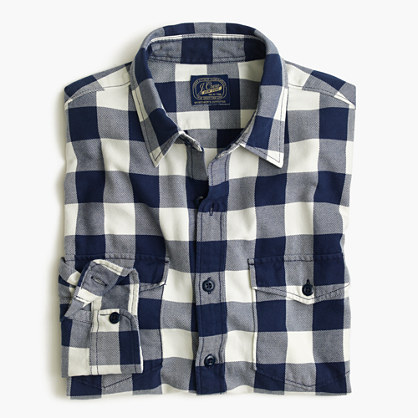 Midweight flannel shirt in navy buffalo check flannel for Buffalo check flannel shirt jacket