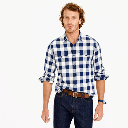 Slim midweight flannel shirt in navy buffalo check