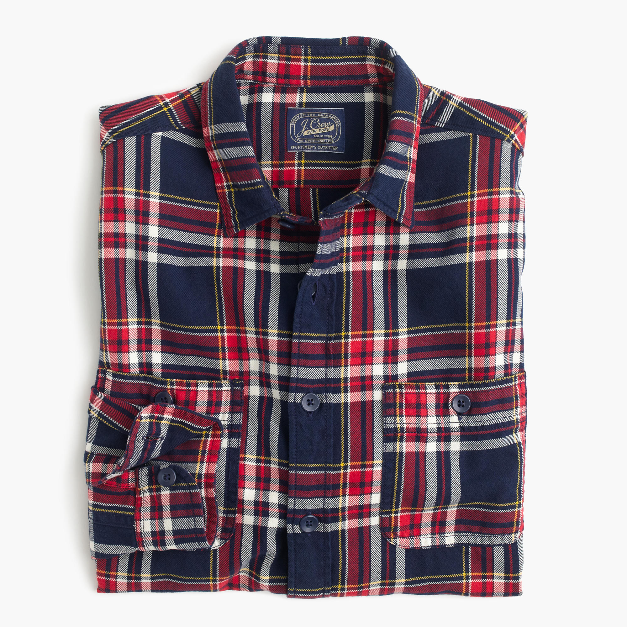 Midweight Flannel Shirt In Navy Plaid Men 39 S Shirts J Crew