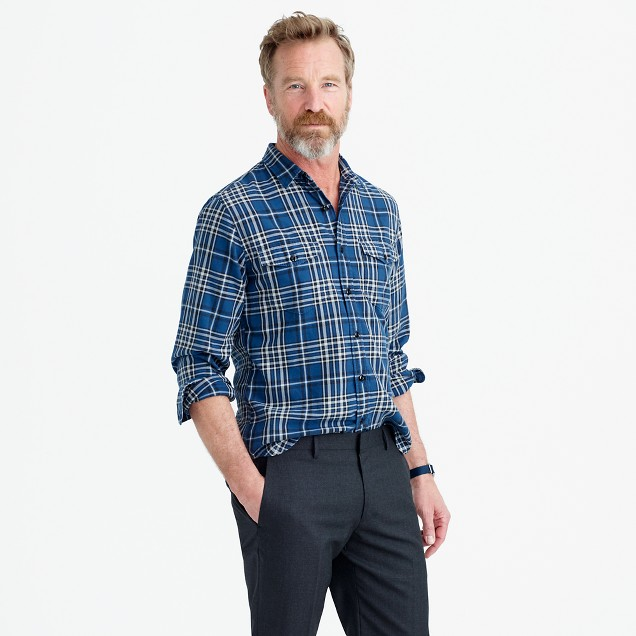 Midweight flannel shirt in blue plaid