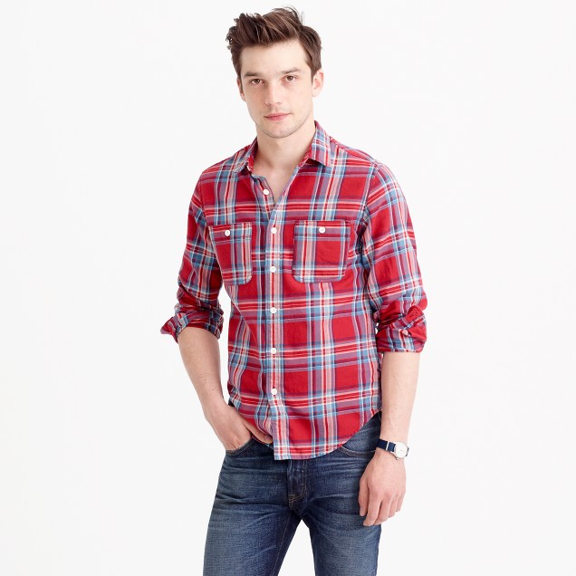 Midweight flannel shirt in red plaid