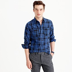 Midweight flannel shirt in black plaid