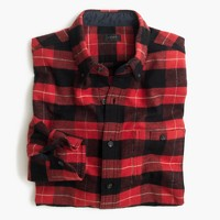 Slim cotton-wool elbow-patch shirt in red-and-black plaid