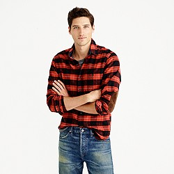 Cotton-wool elbow-patch shirt in red-and-black plaid