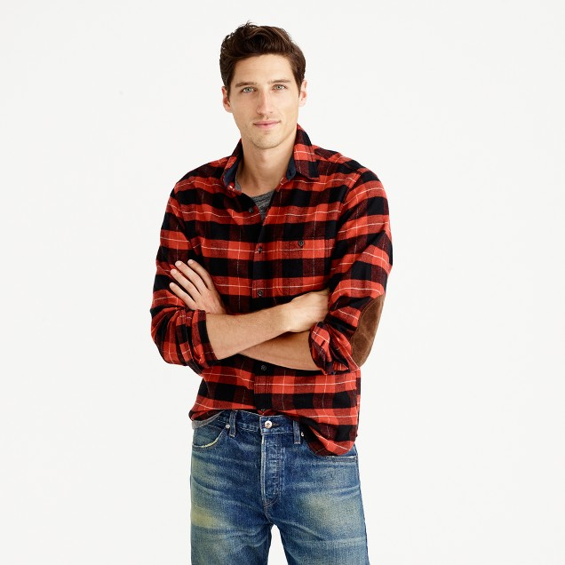 Tall cotton-wool elbow-patch shirt in red-and-black plaid