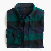 Slim cotton-wool elbow-patch shirt in arctic navy plaid