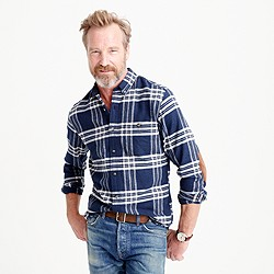 Cotton-wool elbow-patch shirt in dark navy plaid