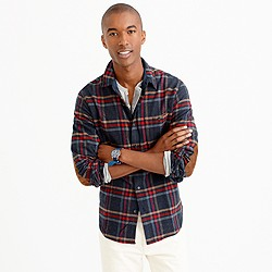 Cotton-wool elbow-patch shirt in faded black plaid