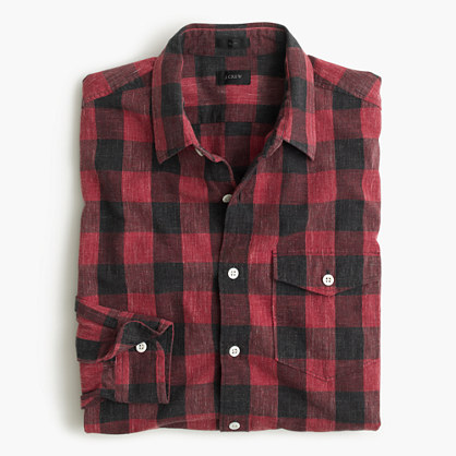 Heathered slub cotton shirt in buffalo check