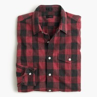 Slim heathered slub cotton shirt in buffalo check