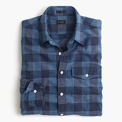 Heathered slub cotton shirt in buffalo check