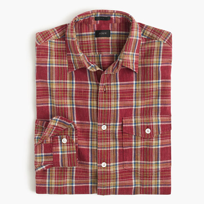 Slim heathered slub cotton shirt in red plaid
