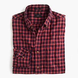 Slim brushed twill shirt in fisherman's plaid