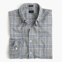 Slim brushed twill shirt in heather grey plaid