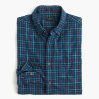 Slim brushed twill shirt in blue check