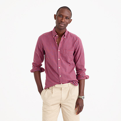 Slim oxford shirt in red plaid