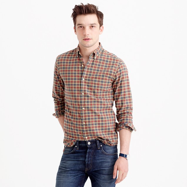 Slim oxford shirt in olive plaid