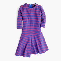 Girls' asymmetrical-hem striped dress